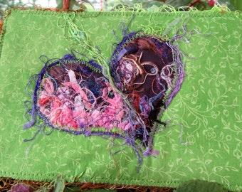Heart Fabric Postcard, Handmade Card, Green And Purple Card, Gift for Love, Fiber Art Card, 6 x 4