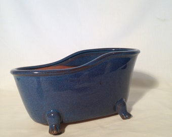 Terra Cotta bathtub shaped planter,Terra Cotta blue glaze planter,Footed Bathtub Planter,Blue footed bathtub shaped planter container