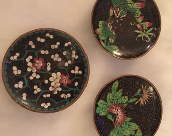 Vintage set of three chinese enamelware cloisonne plates