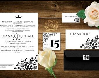 Wedding rose invitation package