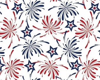 Patriotic - Fireworks Fabric - White - sold by the 1/2 yard