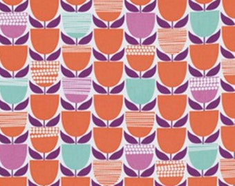 Erin McMorris - Moxie Buttercup Fabric - Tangerine (Lil Tulips Tula Fabric) - sold by the 1/2 yard