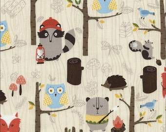 Woodland Animals Cream (Campy) Fabric - sold by the 1/2 yard