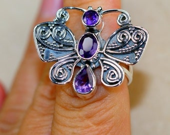 Trendy Amethyst & 925 Sterling Silver Ring sizes 6, 8 by Silver Trend