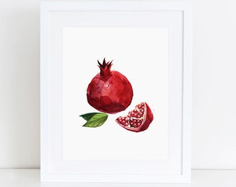 Pomegranate Kitchen print Watercolor print Fruit print, Botanical print, Fruit art, Apartment decor, Red 8x10