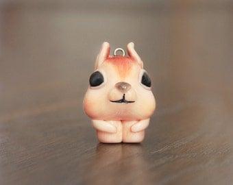 Squirrel Necklace, Polymer Clay Squirrel, minimio Necklace, Handmade, OOAK, Gift Idea