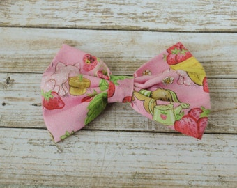 Strawberry Short Cake Fabric Bow