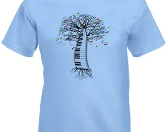 Piano T-shirt Musical Piano Tree Keyboard Pianist  in sizes Small to XXL