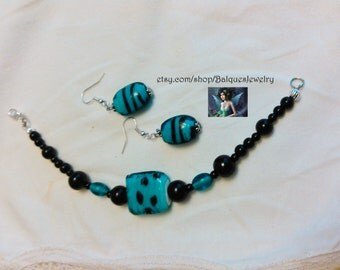 Turquoise, Black - Silver Bracelet and Earrings   B&E#9003