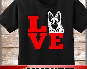 German Shepherd Shirt.  Cute LOVE Shepherds Tee.  Excellent Gift for a Shepherd Mom and all German Shepherd Lovers