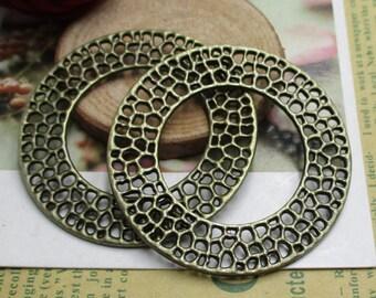 2PCS 50*50mm Large Circle Charms Antique Bronze Tone --p1338