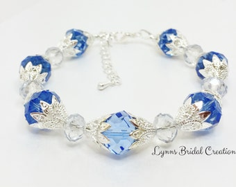 Cobalt Blue Crystal Bracelet Wedding Bracelet Blue Silver Bridal Party Jewellery Blue Bridesmaid Gift Mother of the Bride Gift Sparkly Gift
