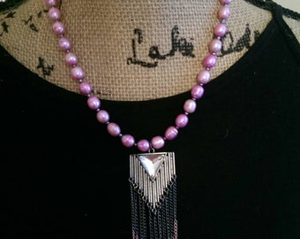Hot pink and metallic grey freshwater pearl necklace