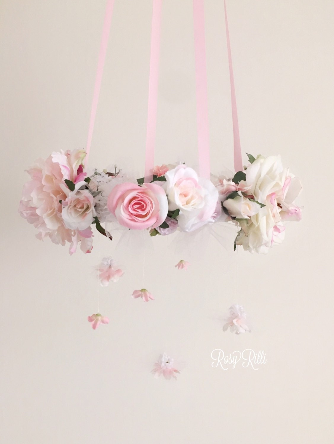 Babydoll pink and white rose flower mobile princess inspired for Princess crib mobile