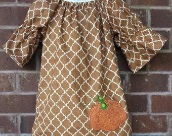 Thanksgiving dress, Pumpkin dress, girls boutique dress, fall dress, custom clothing,peasant dress, boutique clothing, girls dress
