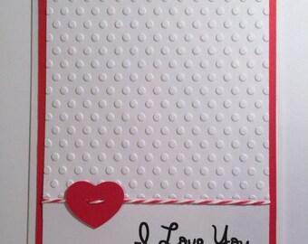 "Handmade ""I Love You"" Valentine Card, Love, Valentine"