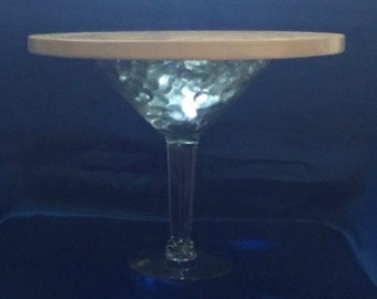 MARTINI GLASS CAKE Stand Solid Wood Trey All Colors All Sizes 4 Led Lights Included