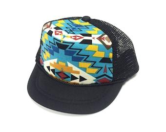 Black with Blue Aztec Trucker Hat