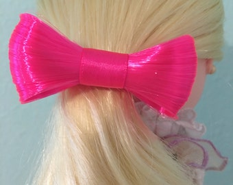 Pink Fake Hair Bow Band For Dolls