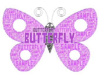 """Butterfly unique personalised word art print 10 x 8"""" FRAMED"""