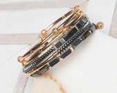 Gold and Gray Memory Wire Bracelet, Gold-plated, Gift for Her, Hemalyke,