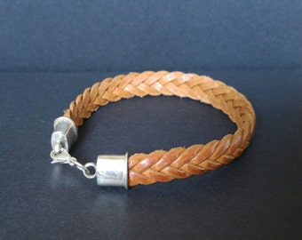 Flat Tan braided leather bracelet with Sterling Silver caps