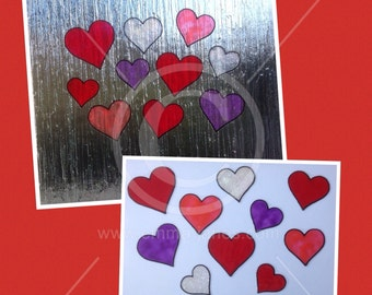 Heart window cling set, 10 handpainted hearts for glass & mirror surfaces. Faux stained glass effect decals, suncatcher, reusable decal