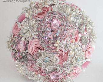 Blush Brooch Bouquet Wedding Bridal Broach bouquet Jeweled Bouquet DEPOSIT