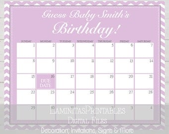 Baby shower game, baby predictions, baby shower calendar, due date calendar, prediction, guess baby birthday, guess the due date BS05