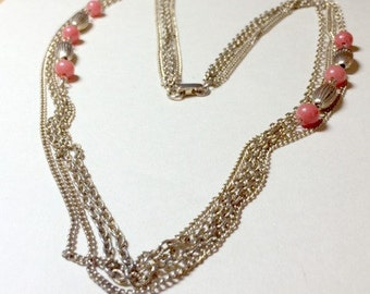 Fresh vintage four strand chain necklace with peach beads gold chain necklace peach necklace layering necklace 1970s