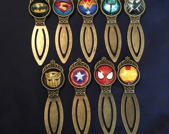 Superhero Inspired Metal Alloy Bookmark Wonder Woman Batman Superman Spider-Man Thor Iron Man