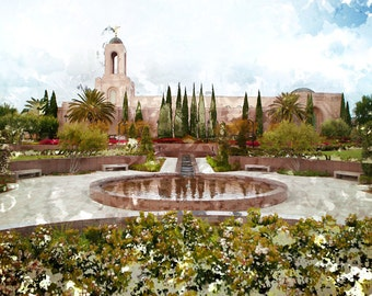 Newport Beach, California LDS Temple Watercolor