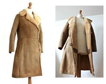 SALE Vintage Sheepskin Coat Shearling coat Full length Outerwear Winter coat Long coat Lamb Fur Coat Sheepskin jacket Ethnic clothing