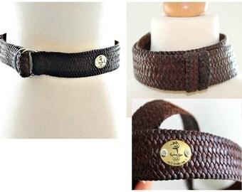Vintage Leather Belt Plait belt Grain Leather Brown Leather Braided Belt Boho Southwestern belt Weave belt Grunge Hipster Festival wear