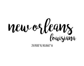 New Orleans Louisiana Coordinates Printable