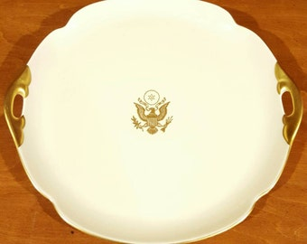 Pickard China Hand Decorated Made in the USA Platter/Plate/Tray with Gold Presidential Seal and Gold Trim