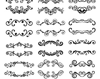 Swirls Flourishes Digital Clipart