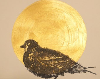 Bird linogravee Golden rising sun poster