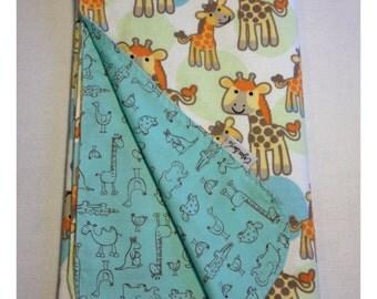 Giraffe baby blanket, receiving blanket, swaddler, flannel baby blanket, safari blanket, security blanket, lovey