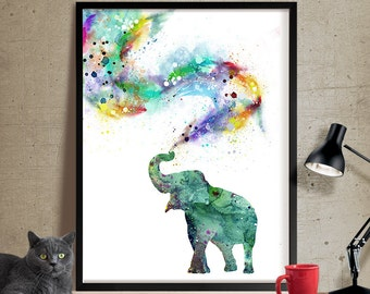 Nursery Wall Art Nursery Decor Nursery Prints Animal Prints Watercolor Elephant Art Print Poster Watercolor Painting  (356)