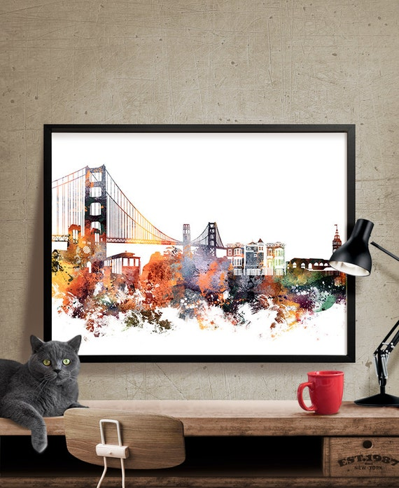 San francisco art san francisco wall art city prints city - Home decor san francisco image ...