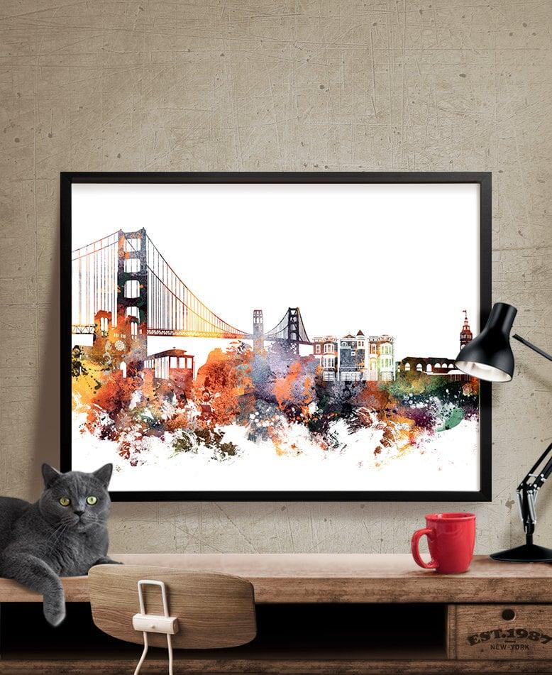 san francisco art san francisco wall art city prints city. Black Bedroom Furniture Sets. Home Design Ideas