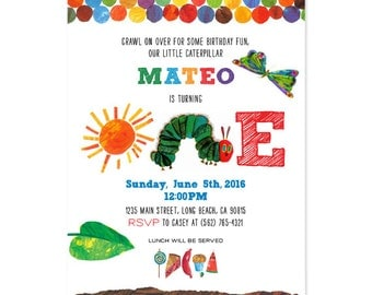 The Very Hungry Caterpillar First Birthday Invite