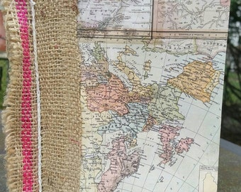 Upcycled map-themed journal with burlap coffee bag with coffee-stained paper and nautical embellishments