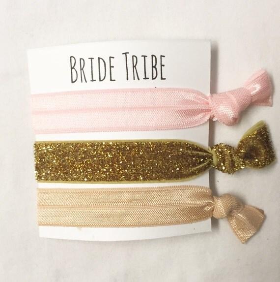 Bridesmaid hair tie favor//bridetirbe blush neutral thick gold//hair tie card//elastic hair ties