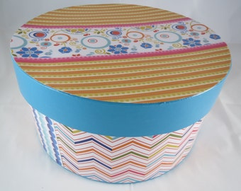 Reduced Price! Decorative Round Box, Bright and Fun Storage, Chevron Print, Turquoise Box, Pretty Organization
