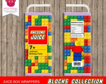 Printable Building Blocks Juice Box Labels | Personalized