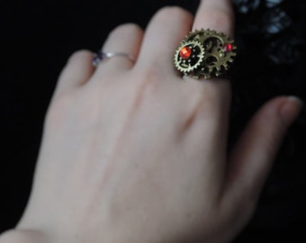 Ring steampunk bronze and Red