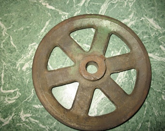 Vintage pulley of industrial metal material recovery pulley 6