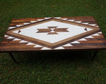 WHITEWASH RAZOR Navajo Aztec Native Boho Mid-Century Coffee Table